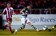 7 March 2020; Aaron McEneff of Shamrock Rovers shoots to score his side's second goal during the SSE Airtricity League Premier Division match between Sligo Rovers and Shamrock Rovers at The Showgrounds in Sligo. Photo by Stephen McCarthy/Sportsfile