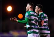 7 March 2020; Aaron Greene of Shamrock Rovers celebrates after scoring his side's third goal with team-mate Aaron McEneff, right, during the SSE Airtricity League Premier Division match between Sligo Rovers and Shamrock Rovers at The Showgrounds in Sligo. Photo by Stephen McCarthy/Sportsfile