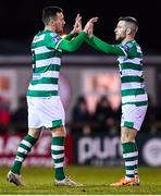 7 March 2020; Aaron Greene of Shamrock Rovers celebrates after scoring his side's third goal with team-mate Jack Byrne, right, during the SSE Airtricity League Premier Division match between Sligo Rovers and Shamrock Rovers at The Showgrounds in Sligo. Photo by Stephen McCarthy/Sportsfile