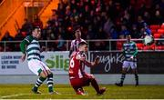 7 March 2020; Aaron Greene of Shamrock Rovers shoots to score his side's third goal during the SSE Airtricity League Premier Division match between Sligo Rovers and Shamrock Rovers at The Showgrounds in Sligo. Photo by Stephen McCarthy/Sportsfile