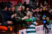7 March 2020; Jack Byrne of Shamrock Rovers with supporters following the SSE Airtricity League Premier Division match between Sligo Rovers and Shamrock Rovers at The Showgrounds in Sligo. Photo by Stephen McCarthy/Sportsfile