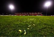 7 March 2020; Chips lie on the pitch after being thrown by Sligo Rovers supporters at Aaron Greene of Shamrock Rovers, after he scored their side's third goal, following the SSE Airtricity League Premier Division match between Sligo Rovers and Shamrock Rovers at The Showgrounds in Sligo. Photo by Stephen McCarthy/Sportsfile