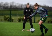 7 March 2020; Republic of Ireland Coach Katie McCarthy, second from right, watches Tara O'Hanlon of Republic of Ireland ahead of the Women's Under-15s John Read Trophy match between Republic of Ireland and England at FAI National Training Centre in Dublin. Photo by Sam Barnes/Sportsfile