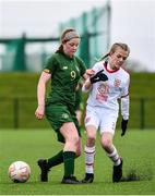 7 March 2020; Katie Law of Republic of Ireland in action against Olivia Lowe of England during the Women's Under-15s John Read Trophy match between Republic of Ireland and England at FAI National Training Centre in Dublin. Photo by Sam Barnes/Sportsfile