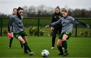 7 March 2020; Republic of Ireland Coach Katie McCarthy, second from right, watches on during the warm up ahead of the Women's Under-15s John Read Trophy match between Republic of Ireland and England at FAI National Training Centre in Dublin. Photo by Sam Barnes/Sportsfile