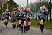 7 March 2020; Republic of Ireland players make their way to the pitch, lead by Eve O'Brien, left, and Jessie Stapleton, ahead of the Women's Under-15s John Read Trophy match between Republic of Ireland and England at FAI National Training Centre in Dublin. Photo by Sam Barnes/Sportsfile