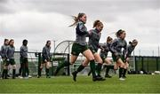 7 March 2020; Republic of Ireland players, including Jessie Stapleton, centre, warm up ahead of the Women's Under-15s John Read Trophy match between Republic of Ireland and England at FAI National Training Centre in Dublin. Photo by Sam Barnes/Sportsfile
