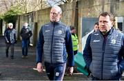 8 March 2020; Galway manager Shane O'Neill, left, and Maor Fóirne John Fitzgerald, arrive ahead of the Allianz Hurling League Division 1 Group A Round 3 match between Galway and Tipperary at Pearse Stadium in Salthill, Galway. Photo by Sam Barnes/Sportsfile