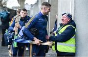 8 March 2020; Séamus Callanan of Tipperary is greeted by steward Gerry Mylette as he arrives ahead of the Allianz Hurling League Division 1 Group A Round 3 match between Galway and Tipperary at Pearse Stadium in Salthill, Galway. Photo by Sam Barnes/Sportsfile