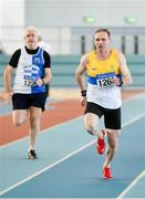 8 March 2020; Patrick Crossan of St Abban's AC, Carlow, right, and Adrian Brennan of Tullamore Harriers AC, Offaly, competing in the M55 60m event during the Irish Life Health National Masters Indoors Athletics Championships at Athlone IT in Athlone, Westmeath. Photo by Piaras Ó Mídheach/Sportsfile