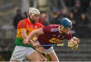 8 March 2020; Tommy Doyle of Westmeath in action against Martin Kavanagh of Carlow during the Allianz Hurling League Division 1 Relegation Play-Off match between Westmeath and Carlow at TEG Cusack Park in Mullingar, Westmeath. Photo by Seb Daly/Sportsfile