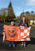 8 March 2020; Armagh supporters Sean and Emma Mann, from Craigavon, Co Armagh, before the Allianz Hurling League Round 3A Final match between Armagh and Donegal at Páirc Éire Óg in Carrickmore, Tyrone. Photo by Oliver McVeigh/Sportsfile