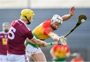 8 March 2020; Jack Kavanagh of Carlow blocks Aaron Craig of Westmeath's attempted pass during the Allianz Hurling League Division 1 Relegation Play-Off match between Westmeath and Carlow at TEG Cusack Park in Mullingar, Westmeath. Photo by Seb Daly/Sportsfile