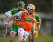 8 March 2020; Eoin McGuinness of Armagh in action against Stephen Gillespie of Donegal during the Allianz Hurling League Round 3A Final match between Armagh and Donegal at Páirc Éire Óg in Carrickmore, Tyrone. Photo by Oliver McVeigh/Sportsfile