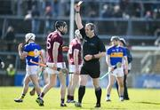 8 March 2020; Padraic Mannion of Galway is shown a yellow card by referee Johnny Murphy during the Allianz Hurling League Division 1 Group A Round 3 match between Galway and Tipperary at Pearse Stadium in Salthill, Galway. Photo by Sam Barnes/Sportsfile