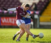 8 March 2020; Roisin Leonard of Galway shoots at goal despite the attention of Ellen Moore of Tipperary during the 2020 Lidl Ladies National Football League Division 1 Round 5 match between Galway and Tipperary at Tuam Stadium in Tuam, Galway. Photo by Ramsey Cardy/Sportsfile