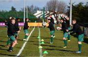 8 March 2020; Cabinteely players warm-up ahead of the EA Sports Cup First Round match between Cabinteely and Crumlin United at Stradbrook in Blackrock, Dublin. Photo by Ben McShane/Sportsfile