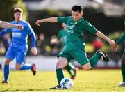 8 March 2020; Kaito Akimoto of Cabinteely shoots to score his side's first goal during the EA Sports Cup First Round match between Cabinteely and Crumlin United at Stradbrook in Blackrock, Dublin. Photo by Ben McShane/Sportsfile