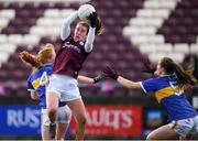 8 March 2020; Roisin Leonard of Galway in action against Emma Cronin, left, and Maria Curley of Tipperary during the 2020 Lidl Ladies National Football League Division 1 Round 5 match between Galway and Tipperary at Tuam Stadium in Tuam, Galway. Photo by Ramsey Cardy/Sportsfile