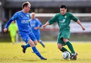 8 March 2020; Kaito Akimoto of Cabinteely in action against Thomas Hyland of Crumlin United during the EA Sports Cup First Round match between Cabinteely and Crumlin United at Stradbrook in Blackrock, Dublin. Photo by Ben McShane/Sportsfile