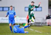 8 March 2020; Dean Casey of Cabinteely is tackled by Noel Cummins of Crumlin United during the EA Sports Cup First Round match between Cabinteely and Crumlin United at Stradbrook in Blackrock, Dublin. Photo by Ben McShane/Sportsfile