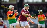 8 March 2020; Darragh Clinton of Westmeath in action against Paul Doyle of Carlow during the Allianz Hurling League Division 1 Relegation Play-Off match between Westmeath and Carlow at TEG Cusack Park in Mullingar, Westmeath. Photo by Seb Daly/Sportsfile