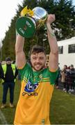 8 March 2020; Donegal captain Sean McVeigh celebrates with the cup after the Allianz Hurling League Round 3A Final match between Armagh and Donegal at Páirc Éire Óg in Carrickmore, Tyrone. Photo by Oliver McVeigh/Sportsfile