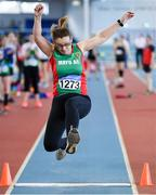 8 March 2020; Tracy Cunnane of Mayo AC competing in the M40 Long Jump event during the Irish Life Health National Masters Indoors Athletics Championships at Athlone IT in Athlone, Westmeath. Photo by Piaras Ó Mídheach/Sportsfile