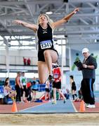 8 March 2020; Rosemary Gibson of North East Runners AC, Louth, competing in the M45 Long Jump event during the Irish Life Health National Masters Indoors Athletics Championships at Athlone IT in Athlone, Westmeath. Photo by Piaras Ó Mídheach/Sportsfile