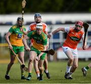 8 March 2020; Jack O'Loughlin of Donegal in action against Ryan Gaffney of Armagh during the Allianz Hurling League Round 3A Final match between Armagh and Donegal at Páirc Éire Óg in Carrickmore, Tyrone. Photo by Oliver McVeigh/Sportsfile
