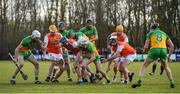 8 March 2020; Donegal and Armagh players compete for the ball during the Allianz Hurling League Round 3A Final match between Armagh and Donegal at Páirc Éire Óg in Carrickmore, Tyrone. Photo by Oliver McVeigh/Sportsfile