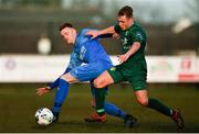 8 March 2020; Gareth Brady of Crumlin United in action against Dylan Thornton of Cabinteely during the EA Sports Cup First Round match between Cabinteely and Crumlin United at Stradbrook in Blackrock, Dublin. Photo by Ben McShane/Sportsfile