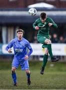 8 March 2020; Andrew Byrne of Cabinteely in action against Jamie Hollywood of Crumlin United during the EA Sports Cup First Round match between Cabinteely and Crumlin United at Stradbrook in Blackrock, Dublin. Photo by Ben McShane/Sportsfile