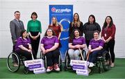 8 March 2020; As part of Seachtain na Gaeilge le Energia the GAA celebrated International Women's Day 2020 with Conradh na Gaeilge in Croke Park. Those present were treated to a skills exhibition from five intercounty wheelchair camogie players as part of the GAA's 'GAA For All' scheme in the players' warm up room. Following that, a discussion panel was held on the topic 'Women in Sport'. TG4 sports presenter and one of this year's Seachtain na Gaeilge personalities, Gráinne McElwain, facilitated the discussion and there was contributions from Eimear Considine, Imreoir Rugbaí le Foireann na hÉireann, Gearóidín Ní Thaibhís, An tOifigeach Náisiúnta Éagsúlachta agus Rannpháirtíochta CLG and Máire Treasa Ní Dhubhghaill, Spórt TG4. In attendance during the event at Croke Park in Dublin, are, back from left, Jamie Ó Tuama, Oifigeach Forbartha Gaeilge CLG, Gráinne McElwain, TG4, Máire Treasa Ní Dhubhghaill, Spórt TG4, Eimear Considine, Imreoir Rugbaí le Foireann na hÉireann,Orla Nic Ghearailt, Bainisteoir, Sheachtain na Gaeilge and Gearóidín Ní Thaibhís, An tOifigeach Náisiúnta Éagsúlachta agus Rannpháirtíochta CLG, with, fromt, from left, are wheelchair camogie players, Caroline O'Halloran, from Ennis in Clare, Edel Morrissey, from Cooraclare in Clare, Ellie Sheehy from Limerick and Sarah Cregg, from Roscommon. Photo by Brendan Moran/Sportsfile