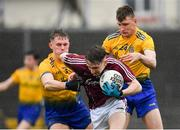 7 March 2020; Matthew Cooley of Galway in action against Colin Walsh, left, and Shane Cunnane of Roscommon during the EirGrid Connacht GAA Football U20 Championship Final match between Galway and Roscommon at Tuam Stadium in Tuam, Galway. Photo by Seb Daly/Sportsfile