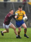 7 March 2020; Peter Gillololy of Roscommon in action against Jack Glynn of Galway during the EirGrid Connacht GAA Football U20 Championship Final match between Galway and Roscommon at Tuam Stadium in Tuam, Galway. Photo by Seb Daly/Sportsfile