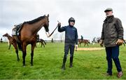 9 March 2020; Trainer Willie Mullins, right, alongside Ruby Walsh and Chacun Pour Soi ahead of the Cheltenham Racing Festival at Prestbury Park in Cheltenham, England. Photo by David Fitzgerald/Sportsfile