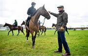 9 March 2020; Trainer Willie Mullins, right, with Patrick Mullins on Carefully Selected on the gallops ahead of the Cheltenham Racing Festival at Prestbury Park in Cheltenham, England. Photo by David Fitzgerald/Sportsfile