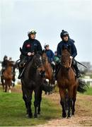 9 March 2020; The Willie Mullins string is led onto the gallops by Paul Townend on Benie Des Dieux, left, and Ruby Walsh on Chacun Pour Soi ahead of the Cheltenham Racing Festival at Prestbury Park in Cheltenham, England. Photo by David Fitzgerald/Sportsfile