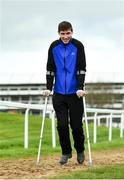 9 March 2020; Injured jockey Jack Kennedy on the gallops ahead of the Cheltenham Racing Festival at Prestbury Park in Cheltenham, England. Photo by David Fitzgerald/Sportsfile