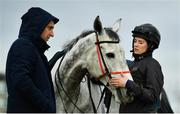 9 March 2020; Rachael Blackmore with Petit Mouchoir and trainer Henry de Bromhead, left, on the gallops ahead of the Cheltenham Racing Festival at Prestbury Park in Cheltenham, England. Photo by David Fitzgerald/Sportsfile