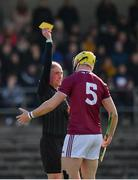8 March 2020; Referee Seán Cleere shows a yellow card to Aaron Craig of Westmeath during the Allianz Hurling League Division 1 Relegation Play-Off match between Westmeath and Carlow at TEG Cusack Park in Mullingar, Westmeath. Photo by Seb Daly/Sportsfile