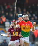 8 March 2020; Martin Kavanagh of Carlow in action against Darragh Egerton, left, and Tommy Doyle of Westmeath during the Allianz Hurling League Division 1 Relegation Play-Off match between Westmeath and Carlow at TEG Cusack Park in Mullingar, Westmeath. Photo by Seb Daly/Sportsfile