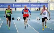8 March 2020; Runners, from left, Michael A Murphy of Killarney Valley AC, Kerry, John O'Connor of Enniscorthy AC, Wexford, and John O'Loughlin of Crusaders AC, Dublin, competing in the M50 60m event during the Irish Life Health National Masters Indoors Athletics Championships at Athlone IT in Athlone, Westmeath. Photo by Piaras Ó Mídheach/Sportsfile