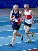 8 March 2020; Brian McGrath of Le Chéile AC, Kildare, competing in the M65 1500m event, left, and Martin Mc Evilly of Galway City Harriers AC competing in the M70 1500m event during the Irish Life Health National Masters Indoors Athletics Championships at Athlone IT in Athlone, Westmeath. Photo by Piaras Ó Mídheach/Sportsfile