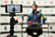 9 March 2020; Head coach Andy Farrell is seen on the screen of a smartphone during an Ireland Rugby Press Conference in the National Indoor Arena at the Sports Ireland Campus in Dublin. Photo by Brendan Moran/Sportsfile
