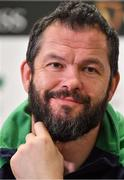 9 March 2020; Head coach Andy Farrell during an Ireland Rugby Press Conference in the National Indoor Arena at the Sports Ireland Campus in Dublin. Photo by Brendan Moran/Sportsfile