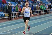 8 March 2020; John MacDermott of Sligo AC competing in the M75 400m event during the Irish Life Health National Masters Indoors Athletics Championships at Athlone IT in Athlone, Westmeath. Photo by Piaras Ó Mídheach/Sportsfile