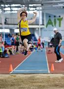 8 March 2020; Erika Juozapaite of Blackrock AC, Louth, competing in the M35 Long Jump event during the Irish Life Health National Masters Indoors Athletics Championships at Athlone IT in Athlone, Westmeath. Photo by Piaras Ó Mídheach/Sportsfile