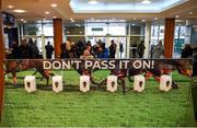 9 March 2020; Hand sanitiser is seen in the foyer ahead of the Cheltenham Racing Festival at Prestbury Park in Cheltenham, England. Photo by Harry Murphy/Sportsfile